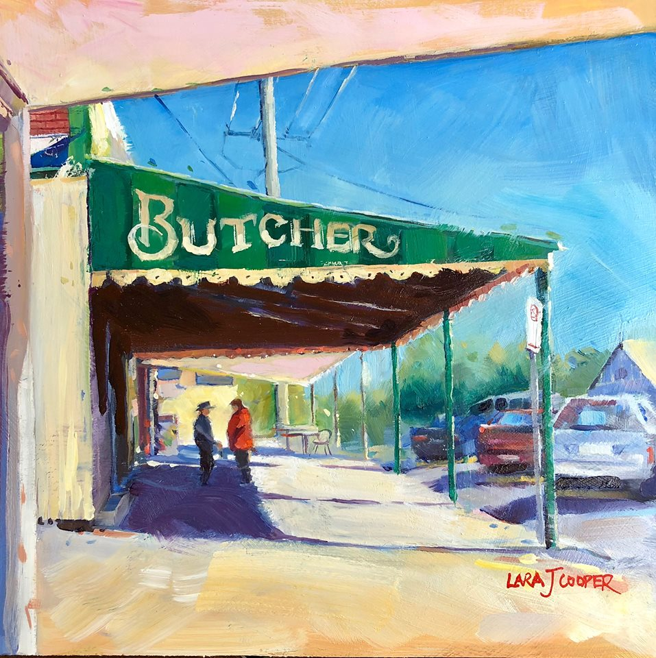 Oil, oil painting, maleny, queensland, queensland artist, australian artist, conversation, main street, townscape, country town, rural town, regional, local, australian artist, sunshine coast artist