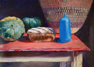 loaf, bread, sourdough, perfect, blue bottle, pumpkin, basket, rustic, table, red